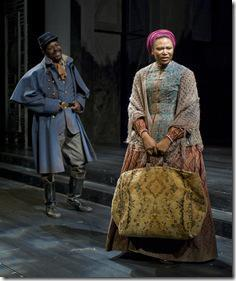 (left to right) Coalhouse Walker (ensemble member James Vincent Meredith) and Wilma (ensemble member Alana Arenas) discuss the difficulties of being newly freed and plan a future for themselves in Steppenwolf Theatre Company's world-premiere production of The March, based on the novel by E.L. Doctorow, adapted and directed by ensemble member Frank Galati. The March runs April 5 – June 10, 2012 in Steppenwolf's Downstairs Theatre (1650 N Halsted St).