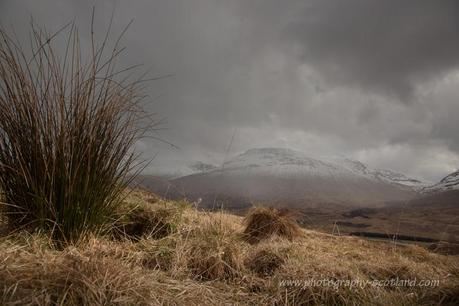 Landscape photo - snow on Rannoch Moor in the Scottish Highlands