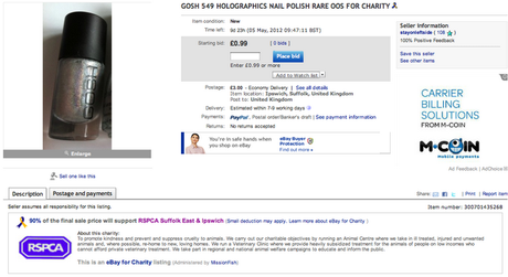 CHARITY AUCTION: Gosh Holographics Nail Polish for sale!