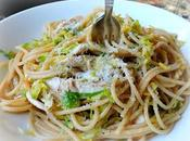 Spaghetti with Roasted Chicken Shredded Brussels