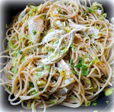 Spaghetti with Roasted Chicken and Shredded Brussels