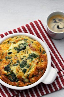 Keto frittata with fresh spinach