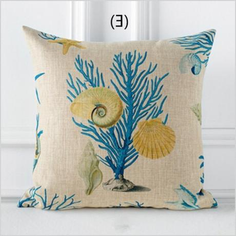 american country ocean decorative throw pillow living room linen coral starfish pillows