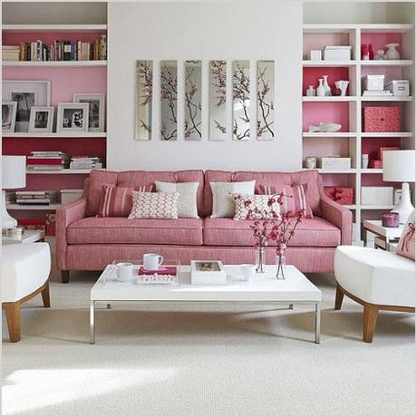 white and pink contemporary living room 939