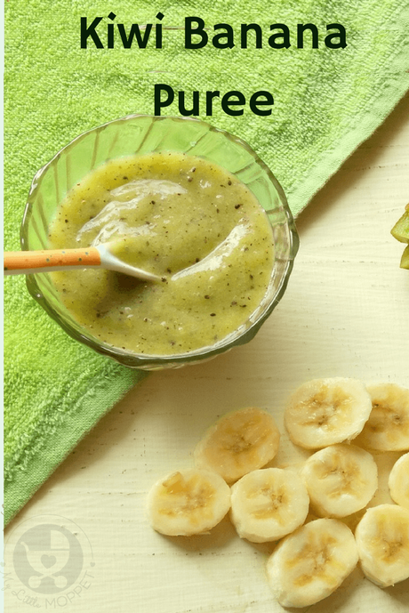 Introduce your baby to different flavors with a delicious Kiwi Banana Puree! Packed with antioxidants, fiber and other nutrients along with a lovely green color!