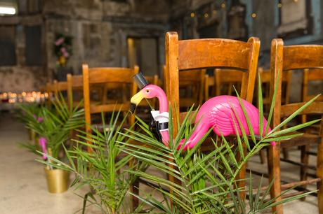 Plastic flamingo detail at Quirky and fun wedding at Asylum in London