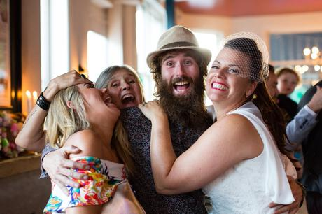 Guests and bride having fun at wedding at Lordship Pub in London
