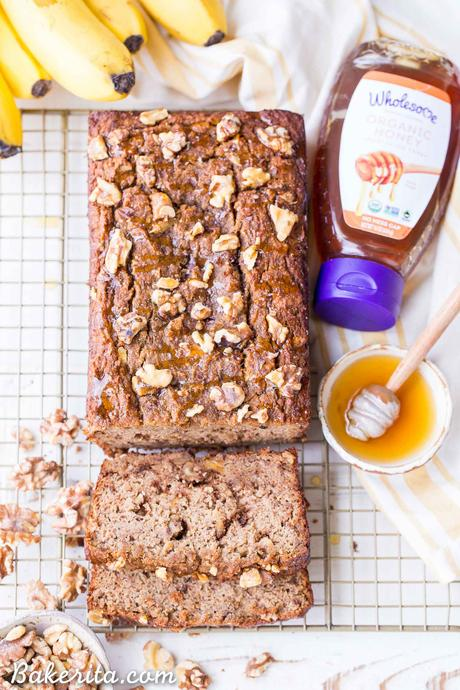 This Paleo Honey Nut Banana Bread is a deliciously healthy breakfast or snack that will help keep you satiated for hours. It's a lightly honey-sweetened treat that's gluten-free and grain-free and packed with crunchy walnuts.