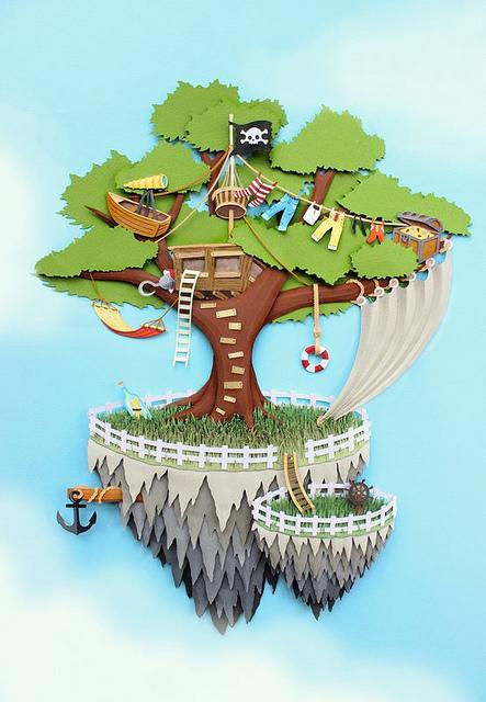 Pirate Island Paper Art Illustration - Collaboration of Annemarieke Kloosterhof and Dina Belenko