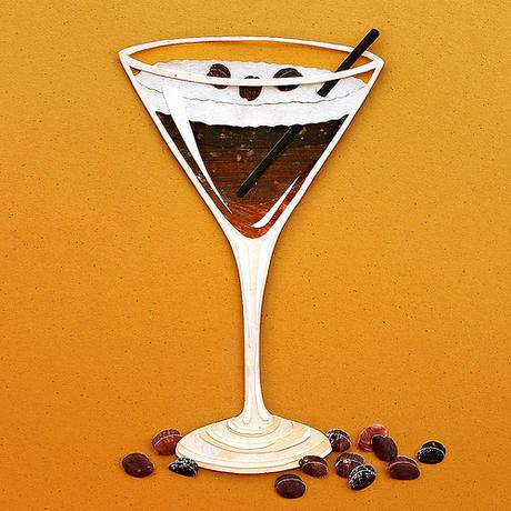 Espresso Martini Paper Cut Illustration by Annemariek Kloosterhof