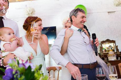 Best York Documentary Photography bride hugs dad during speeches