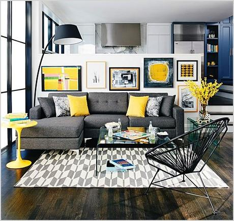 grey living room decor with pops of yellow 1436