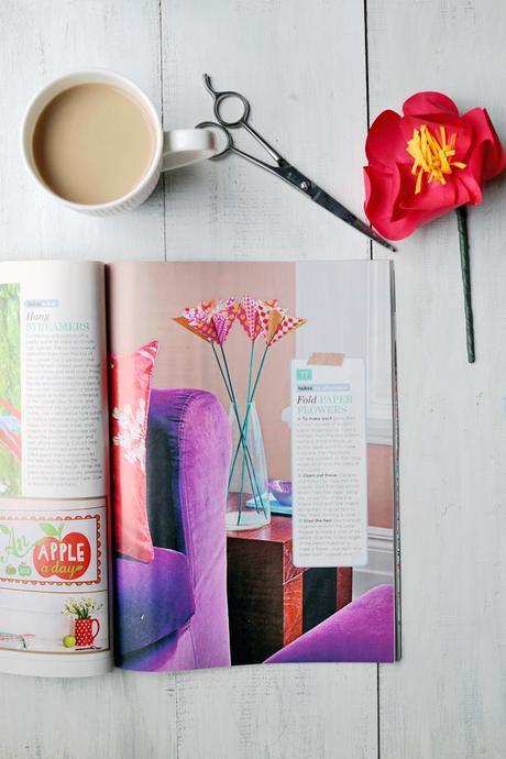 Paper Flower Origami in Vintage Decorating magazine