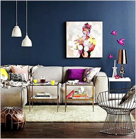 navy blue wall living room decor 1414