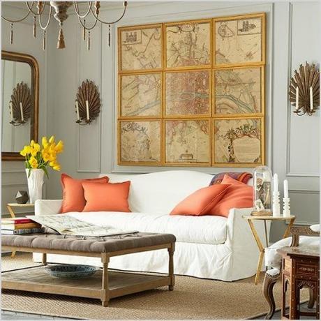 ideas para decorar la pared sobre el sofa