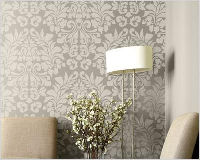 large wall stencil fabric damask allover