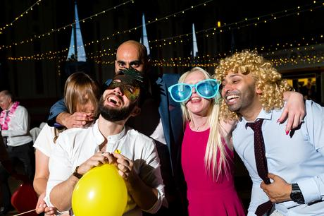 A fun Yorkshire Wedding party photograph with fancy dress