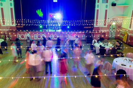 Motion photograph of guests dancing at Victoria Hall in Saltaire