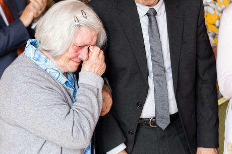 Groom's mother cries happy tears at Victoria Hall Wedding