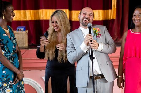 Groom sings a serenade to his new husband at Victoria Hall Saltaire