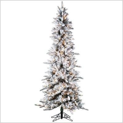 sterling inc 7 5 narrow pencil pine christmas tree with 450 clear lights with stand 5820 75c sri1250