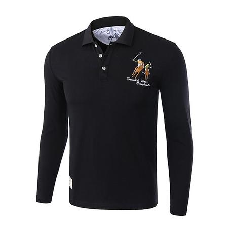black long sleeve polo shirts for men
