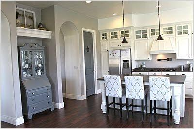 kitchen with white cabinets gray walls dark floors