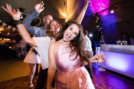 guests on the dance floor at Villa Farm Weddings