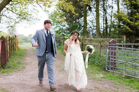 Villa Farm Weddings bride and groom walking up lane