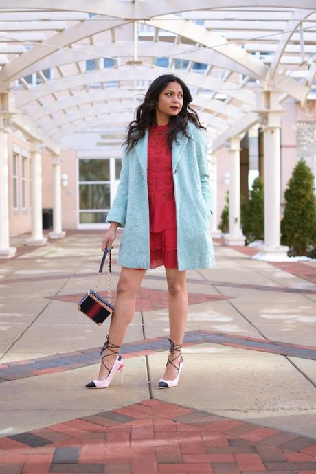 how to wear red in winter, ice blur coat, red lace dress , mini dress, valentines outfit, feminine, street style, fashion, dc blogger, wavy beachy dress, date night casual, dressy, myriad musings