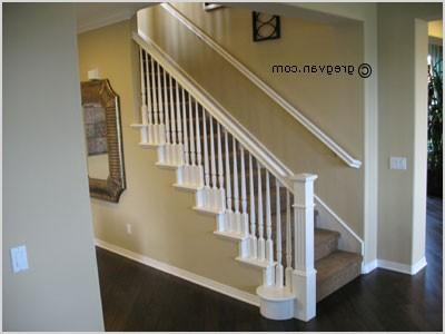 white painted stair handrail