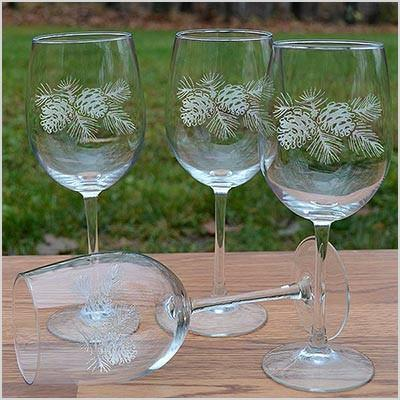 napa valley pinecone etched wine glass