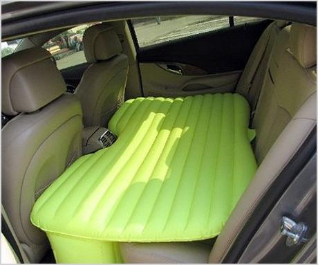 inflatable car mattress turns your backseat into a bed