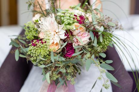St. Stephens Hampstead Wedding big, pink, red & blrush bouquet