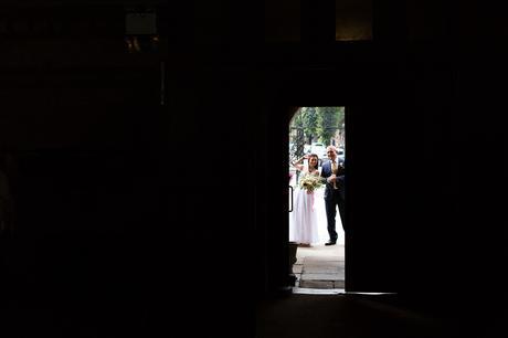 St. Stephens Hampstead Wedding bride through the doorway for ceremony