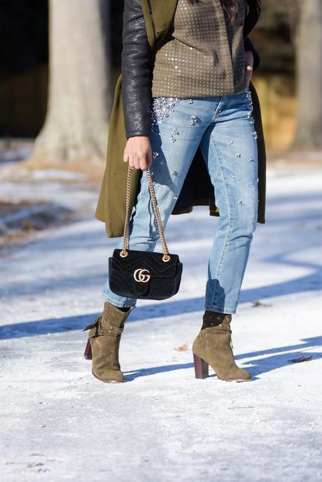things bloggers hear all the time, addressing sponsored issues, money making tips from the blog, fashion, sparkly shirt, embellished denim, green booties, street style, winter fashion, myriad musings