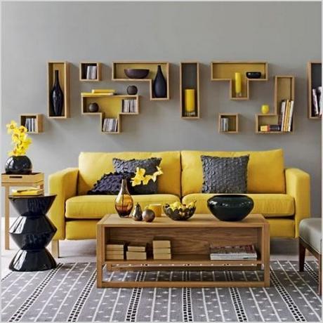 contemporary artsy shelves for living room