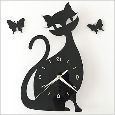 diy mirror wall clock bedroom special living room mute wall clock cartoon cute black cat wall stickers clock p5068626