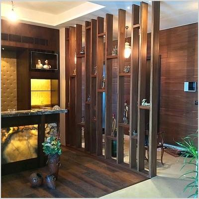wooden glass partition designs for home