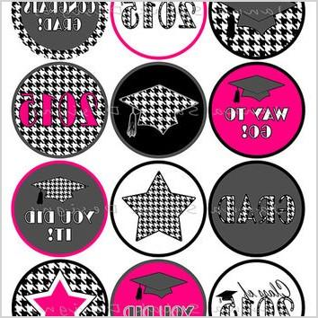 graduation printable cupcake toppers or tags houndstooth 2015 grad black and white with hot pink diy printable instant download