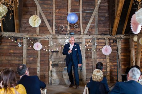 Preston Court Wedding Photography brides dad makes funny face during the speech