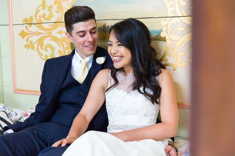 Preston Court Wedding Photography couple sportraits on bed in gypsy van