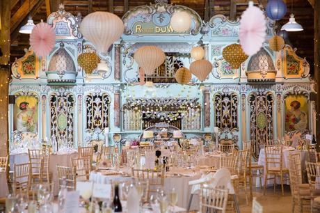 Preston Court Wedding Photography interior shot of barn with circus wall