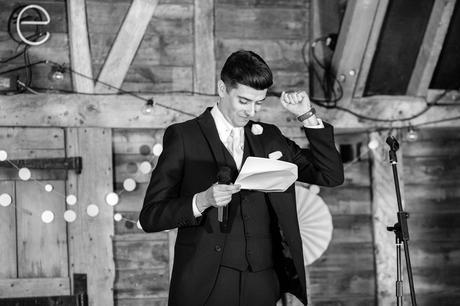 Groom fist pump during the speeches Preston Court Wedding Photography