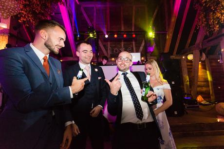 Evening disco guest making a funny face Preston Court Wedding Photography