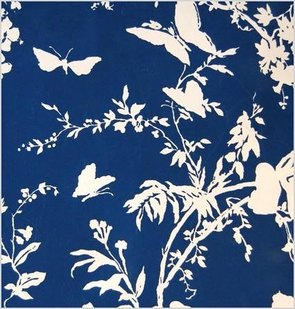 navy and white butterfly and floral