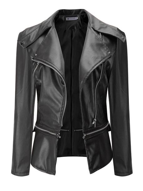 Newchic black leather jackets for women
