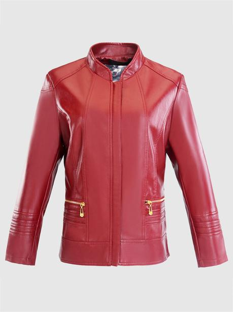 Newchic red leather jackets