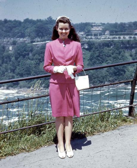 Kodachrome Girl 1940s Niagara Falls