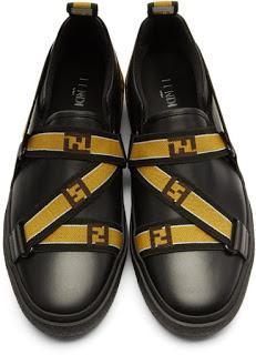 Strapped In For Takeoff:  Fendi Black Logo Strap Sneaker